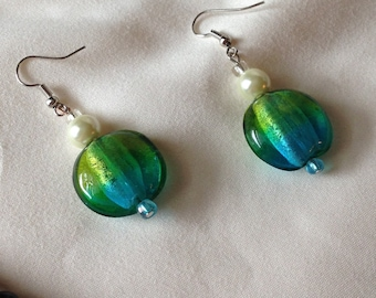 Dangle Blue and Green Glass Beads with Pearls Pierced Earrings