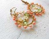 Sale 25%off Coral Earrings Wire Work Earrings Brass Earrings Hoop Earrings Vintage Flower Earrings Peridot Earrings