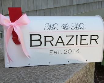 Wedding Mailbox- Card Box - Standard USPS size - White - Block Lettering