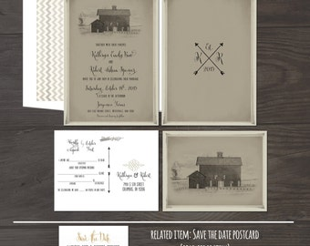 Vintage Barn Wedding Invitation RSVP set Burlap Country Wedding Invitations Vintage Barn County Wedding Rustic Chic Wedding