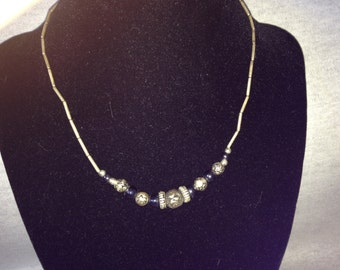 Vintage Costume Silvertone Necklace with Silver and Black Beads