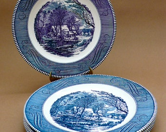 "Vintage Royal China Blue Currier And Ives 10"" Dinner Plates The Old Grist Mill Set of 8 Price includes all Four plates Two Bowls"