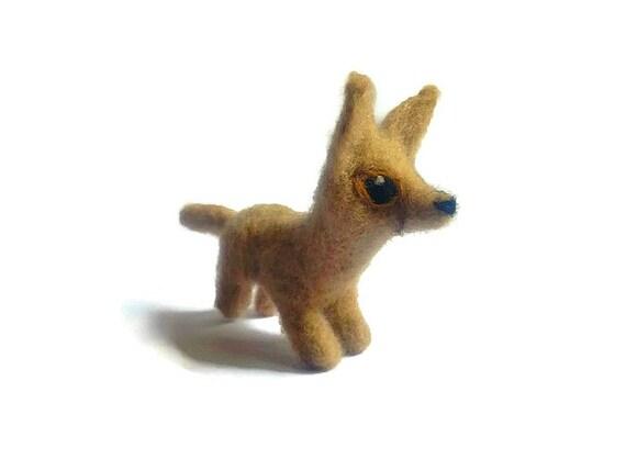Needle Felted Fennec Fox, Amigurumi Soft Sculpture ('Bold')