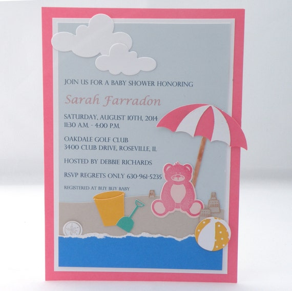 beach baby shower invitation with teddy bear and custom wording