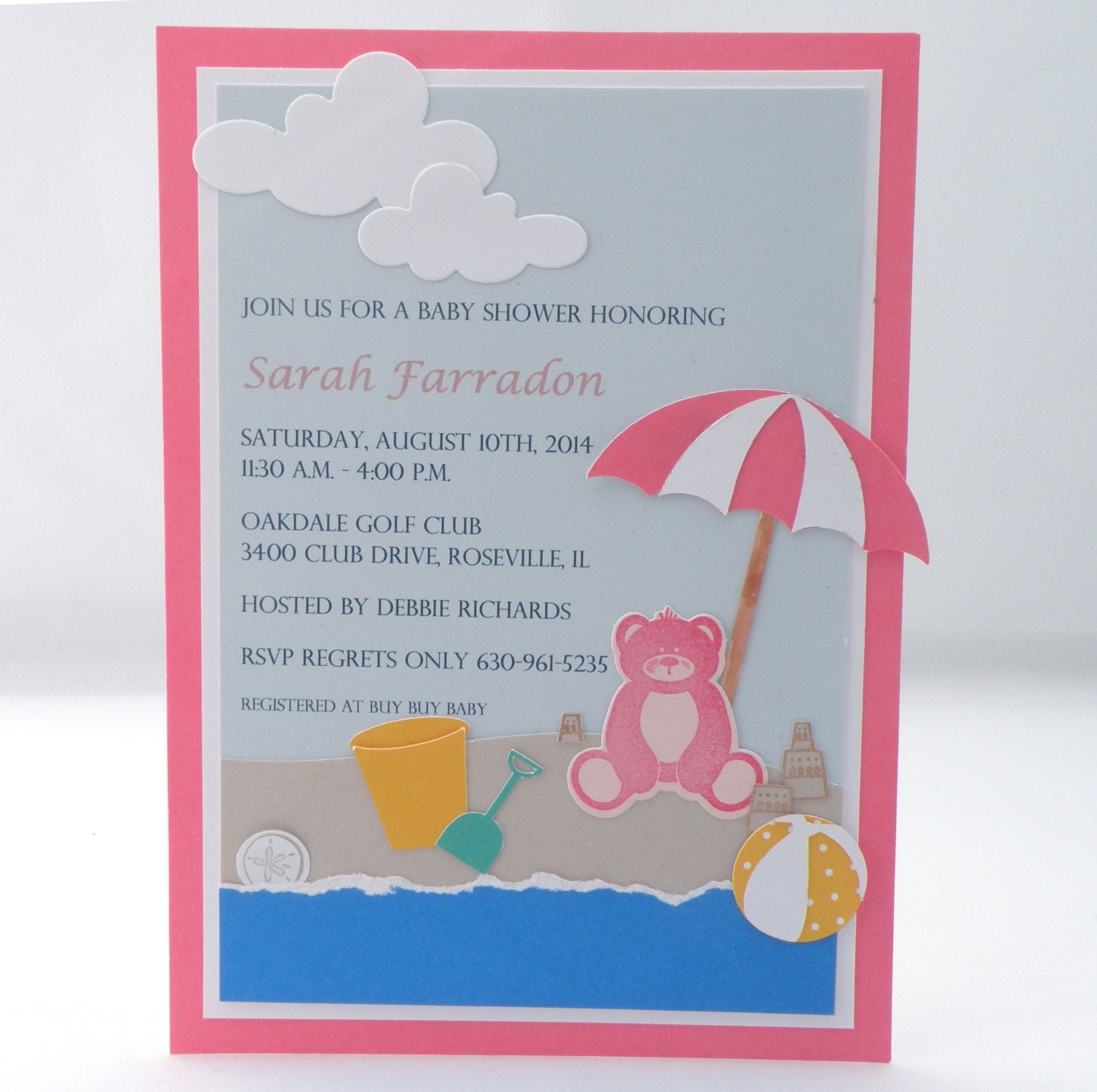 beach baby shower invitation with teddy bear and custom