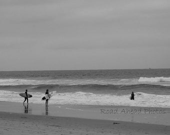 5 x 7 matted black and white beach and surf photograph Huntington Beach, California