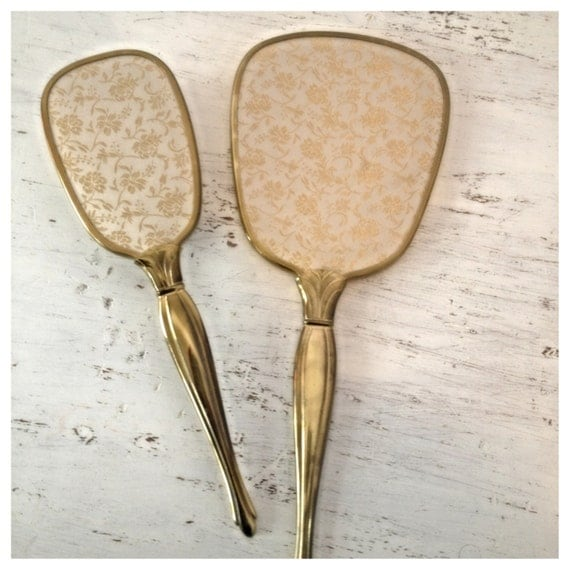 Vintage / Antique 1940s Gold Tone Hand Held Mirror And Brush