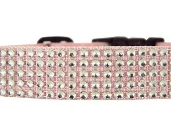 Pink Rhinestone Dog Collar, Pet Collar: Silver/ Blush Rhinestone