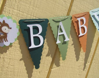 Woodland Animal Fall Themed Welcome Baby Shower Banner, Baby Shower Decorations, Gender Neutral Banner, Gender Neutral Baby Shower Banner