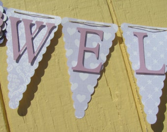Light Purple Baby Shower Banner, Welcome Baby Shower Banner, Baby Shower Decorations,