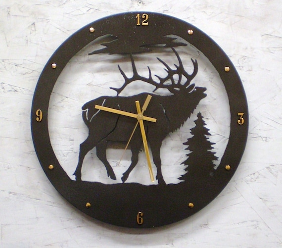 Wall Clock Wildlife Bugling Bull Elk Clock Metal Art Cabin