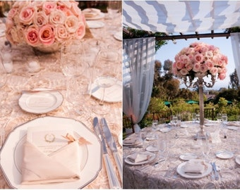 BLUSH Satin ROSETTE TABLECLOTH, Select Your Size, Rosette Wedding Tablecloth, Overlay, Tablerunner