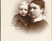 Antique Cabinet Photograph of Victorian Mother &  Baby Son