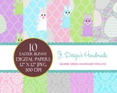 INSTANT DOWNLOAD Easter Bunny Commercial Use Digital Papers - Scrapbook Papers - Digital Papers