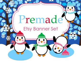 Snow Penguins Etsy Banner Set - Premade Etsy Banner - Etsy Shop Banner #220 - icon Included