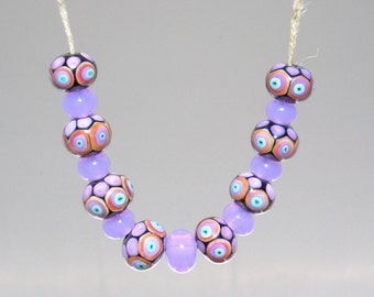 Radiant Lilac Handmade Lampwork Tie Dyed beads and Purple Spacers,  Ready to Ship.