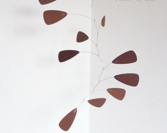 Brown kinetic mobile, Hanging mobile, Art for home, decor with movement