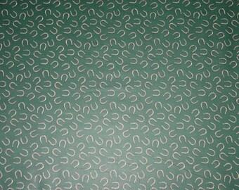 RARE OOP Horse Shoe Bend  Equestrian Horse Fabric Green  Cotton Chintz  Wamsutta New