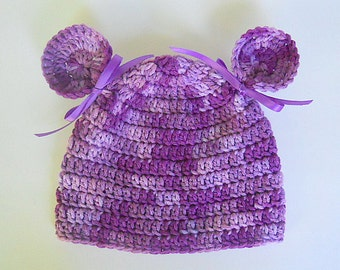 Newborn Baby Girl Purple Hat 3 Months To Adult Lilac Winter Cap With Ears 5 Years Old Preteen Fall Lavender Beanie Ready To Ship