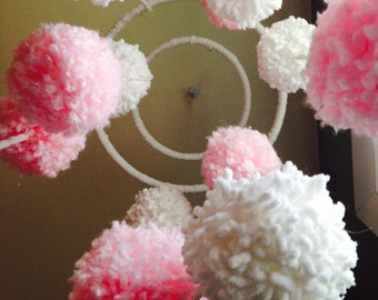 Pink & White Pom Pom Baby Mobile