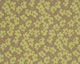 1 yard Amy Butler - Gypsy Caravan -  Wind Flowers - Moss - Brown background with light green flowers, orange centers