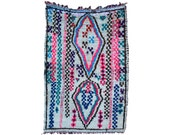 THE GYPSY 7'x5' Moroccan Rug. Boucharouette, Boucherouite. Mid Century Modern. Pink Turquoise Quilt. Danish Pottery Compliment.