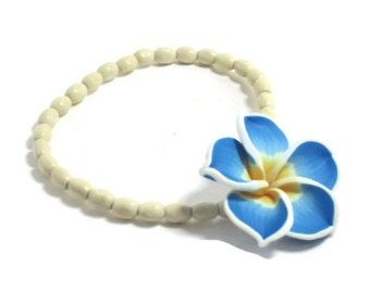 Blue Poly Clay Flower Stretch Bracelet, Summer Bracelet, Stretch Bracelet, Blue Bracelet