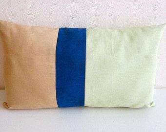 Color Block Linen Pillow Cover Willow Green Camel Blue Lumbar Pillow Colorblock Decorative Stripe Pillow