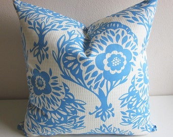 Anna Maria Horner Pillow Cover LouLouThi Woodcut Daydream Designer Pillow Decorative Throw Pillow Upholstery Pillow Blue White Pillow