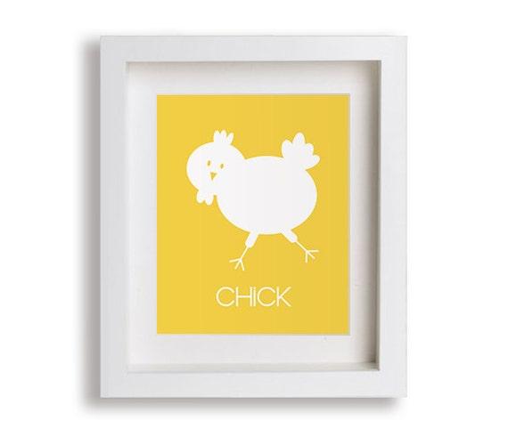 Chick Kids Art Print - Modern Nursery Art for Baby, Nursery Decor, Farm Nursery Wall Art, Children Decor, Baby Chick, Chicken, Rooster