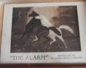 Small picture, The Alarm painted on tin by Laura Ingalls Wilder 2 primitive folk art horses 1black,  white sz. 6x7.5