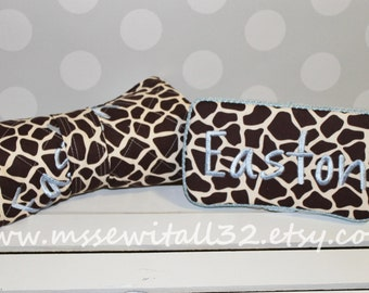 Giraffe Print Quilted Changing Pad and Diaper Wipes Case Set