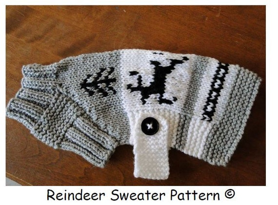Dog Sweater Pattern..Reindeer BT/Pug Sizing