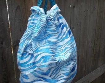 Blue Zebra Backpack Cinchsack White