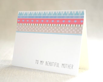 to my beautiful mother - Bridal Stationery Note - Card