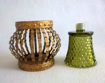 Wavy Crinkle Cut Gold Metal Hobnail Candle Holder Cage with Diamond Cut Scalloped Votive Cup in Avacado Green