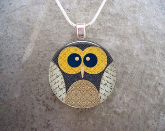 Owl Jewelry - Glass Pendant Necklace - Owl 9