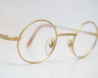 Vintage Glasses Frames Round Gold vintage Eyeglass Frames 1980s Retro Eyeglasses