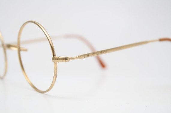 Eyeglass Frames Fairview Heights Il : Giorgio Armani Round Gold Vintage Glasses 1980s