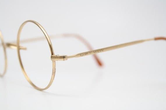Armani Gold Frame Sunglasses : Giorgio Armani Round Gold Vintage Glasses 1980s