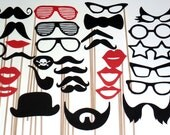 DIY 30 Photo Booth Props Photobooth prop - On a Stick -  Mustache Moustache Party