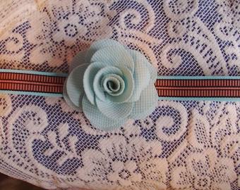 Aqua and Brown Flower Headband - Flower Headband - Aqua Headband - Teen Headband - Forehead Style Headband - Headwrap - Boutique Headband