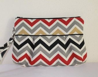 Multi Chevron Wedding Clutch Bridesmaid Gift Wrist Clutch Pleated