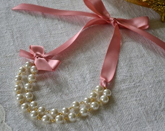Abigail: Double / Two Strand Linked Pearl Necklace - Ivory Pearls with Dusty Rose Ribbon & Bow - Gold Findings