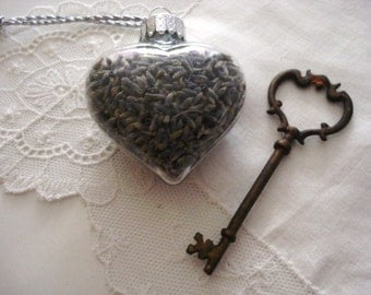 Organic Herb  Glass Heart Filled with Lavender, Rose Petals  or Rosemary/  Wedding/ Mother's Day
