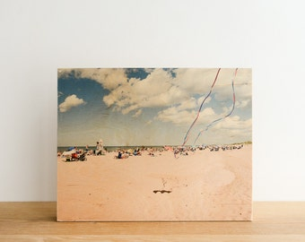 """Beach Photography 'Kite Tails' Limited Edition Image Transfer on 11""""x14"""" Wood Panel by Patrick Lajoie - kite flying, PEI, summer"""