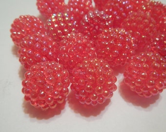 Red Berry Bead, 20 mm, New Vintage Stock