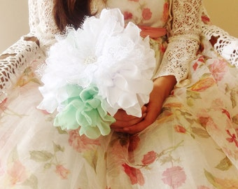 Bridesmaid peony and lace flower bouquet, boho weddings, mint and white bouquet, bridesmaid fabric bouquet, green & white fabric bouquet