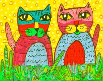 Cat Art, Animal Art, Funny Cat Print, Art For Kids, Cat Decor, Yellow And Green, Children's Room Decor, Kitty Conversation by Paula DiLeo