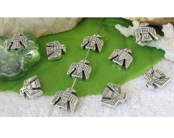 8 Native Design THUNDERBIRD Spacer Beads for Thread or Wire Jewelry 12x12.5 mm